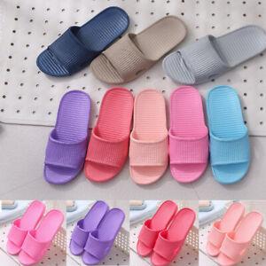 Womens Skid Proof Home Floor Slippers Indoor Striped Flat Bathroom Bath Sandals