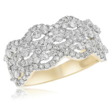 Right Hand Halo Cluster Cocktail Ring 14K Yellow Gold Pave Round 1.15C Diamond