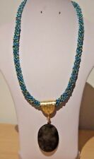 """Labradorite Pendant on Gold & Turquoise Kumihimo 23.5"""" Cord & Gold Plated Clasp"""