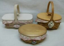 """New Listing3 Vintage Longaberger American Cancer Society """"Hope"""" Baskets w/Lids Charms Liner"""