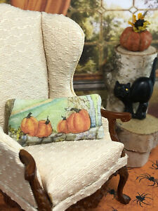 Katie Arthur Dollhouse Fall Autumn Halloween 1 Pillow Pumpkin Miniature