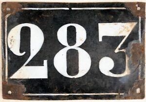 Large old black French house number 283 door gate plate plaque enamel metal sign