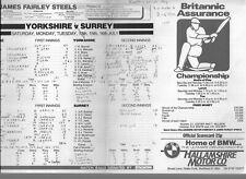 More details for 62 yorkshire home & away scorecards 1980-90