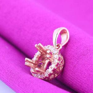 Sale 6mm Round Semi Mount Halo Natural Diamonds Solid 14K Rose Gold Fine Pendant
