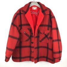 Buffalo Plaid Hunting Jacket Bright Red Fuzzy Lined True Vintage XL
