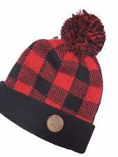 American Eagle mens Red & Black plaid winter Hat cap  KNIT one size fits most