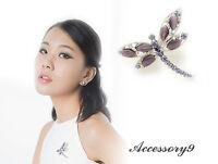 2 pcs amethyst purple crystal cateye bead silver dragonfly Brooch pin scarf D34