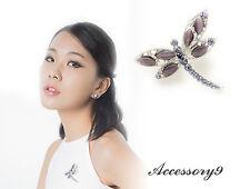 silver dragonfly Brooch pin scarf D34 2 pcs amethyst purple crystal cateye bead