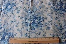 Antique Romantic c1860 Blue Chinz~Floral Bouquet French Print Fabric