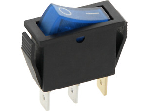 SLIM Rocker Switch 16A 240V 20A 125V BLUE ON-OFF Double Pole 3 Pin  ILLUMINATED