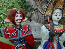 "lot of 2 Ooak Russian Dolls, Folk Art, cloth & mixed media, 9"", exquis. dressed"