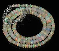 """50 Ctw 1Necklace 3to6mm17""""Bead Natural Genuine Ethiopian Fire Opal Silver RR544"""