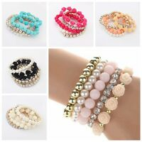 Fashion Women's Girl's Multi-Layer Faux Pearl Beads Chain Bangle Bracelet 7Color