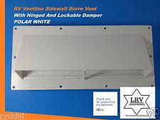 Exterior RV Range Hood, Vent With Hinged/Lockable Damper For Stove, Polar White