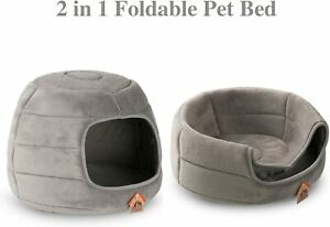Hollypet Self-Warming 2 in 1 Foldable Cave,for Cats and Small Dogs, foam Pet Bed