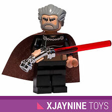 LEGO STAR WARS Count Dooku Sith Lord Clone Wars Ver. Minifig + Curved Lightsaber