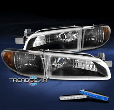 FOR 1997-2003 PONTIAC GRAND PRIX BLACK REPLACEMENT HEADLIGHT LAMP W/BLUE LED DRL
