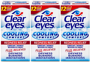 Clear Eyes Cooling Comfort Redness Eye Drops | Relieves Dryness, Burning
