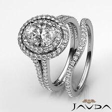 Ovalado Diamante Set Nupcial Antiguo Anillo de Compromiso GIA H VS2 14k Oro