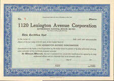 1120 Lexington Avenue > New York stock certificate