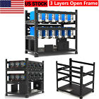 3 Layers Open Air Mining Rig Frame 12 GPU Computer Case ETH BTC Miners Rack USA