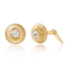 De 9 quilates de oro amarillo geométricas círculo Cristal Andralok Aretes / Caja De Regalo