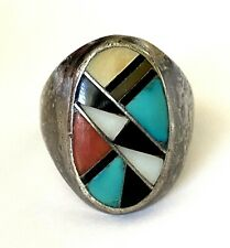 Sterling Silver 925 Size 11.5 Patina Vintage Zuni Inlay Multi Stone Men's Ring