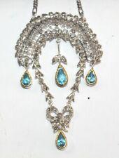 Victorian Look 925 Silver Pendant 2.68ct Rose Cut Diamond Topaz Antique