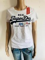 Superdry - cooles T Shirt Schriftzug in weiß schwarz - NEU Gr 40 L 2502N