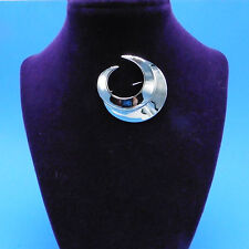 Sarah Coventry jewelry silvertone double crescent brooch pin Crescent line 1964