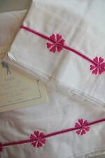 NWT Pottery Barn Kids 3 Piece TWIN Velvet Cuff Sheet Set Raspberry Pink White
