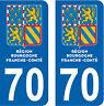 2 STICKERS STYLE PLAQUE IMMATRICULATION BLASON BOURGOGNE FRANCHE COMTÉ DEPT 70