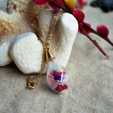 Mixed Real Flower Babysbreath Roses Forgetmenot Pendant 18k Gold Plated Necklace