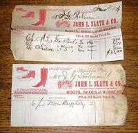 Two 1874 Billheads - John I Slate & Co Boots Shoes Rubbers - Philadelphia PA