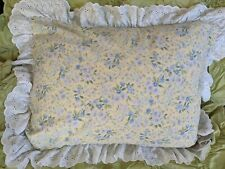 Country Cottage Floral Pillow Sham  Yellow Blue Lavander  20x25 + 3in Ruffle