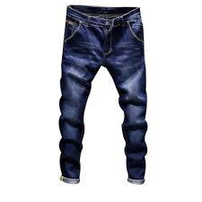 Men Stylish Denim Pants Slim Fit Jeans Retro Stretch Skinny Jeans Long Pants DS