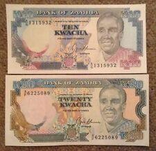 2 X Zambia Banknotes. 10 & 20 Kwacha. Unc.