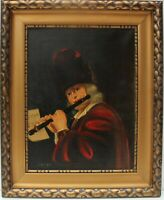 Antique Oil Painting on Canvas, after Jan Kupecky (1667-1740) Flute player