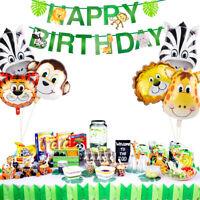 36pcs Safari Jungle Party Supplies Animal Balloon Foil Latex Kids Birthday Decor