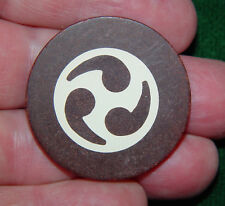 Vintage Antique Brown Yin-Yang & Rang Clay Poker Chip