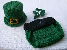 Newborn Baby Leprechaun Hat and Diaper Cover Set--Hand Crochet--Photo Prop