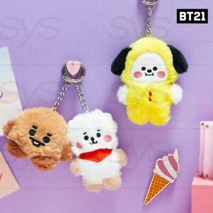 BTS BT21 Official Authentic Goods BABY Flat Fur Series Standing Keyring+Tracking