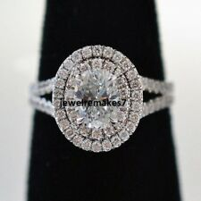 Certified 2.25Ct Oval Cut Diamond Engagement Ring Double Halo 14K White Gold