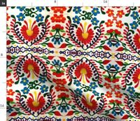 Mexican Embroidery Mexicanstyle Textiles Fabric Printed by Spoonflower BTY