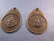 Ancient Chinese Buddhas Coin Charms Antique Bronze 2pcs