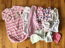 Baby Girls Clothing Lot Of 13 Pieces Size NB Fall/Winter Sleepers Outfits Pink