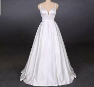 White Ivory Bridal Satin A Line Spaghetti Straps Simple Wedding Dress Size 6-18