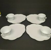 Vintage 8 piece Colony  Harvest Milk Glass Snack Plate and Cup Set C787