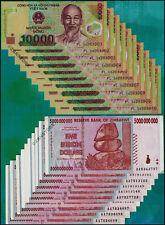 10 x 5 Billion Zimbabwe Dollars +10 x 10,000 Vietnam Dong Banknotes Currency Lot