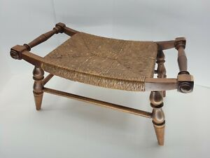 Vintage Wood & Rope Twine Curved Footstool Western Rustic Style Seat Chair